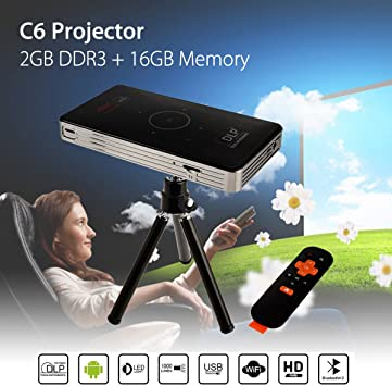 Mini Android 7.1 HD 4K Home Theater Projector Touch Pad WiFi BT HDMI USB 2+16GB
