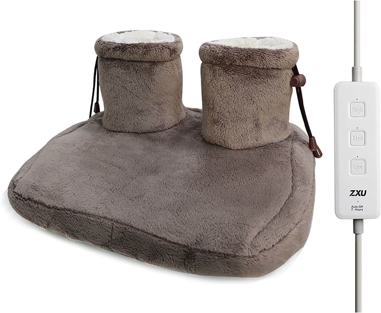 Electric Foot Warmers- Heated Slippers, 3 Temperature Settings,Super-Soft Sherpa-Lined, Machine-Washable Fabric, Auto Shut-Off Foot Heating Pad Under Desk for Men and Women