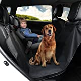 GHB Dog Car Seat Cover Back Seat Cover Protector Waterproof with Safety Seat Belt and Split Zipper in 165cm x 145cm