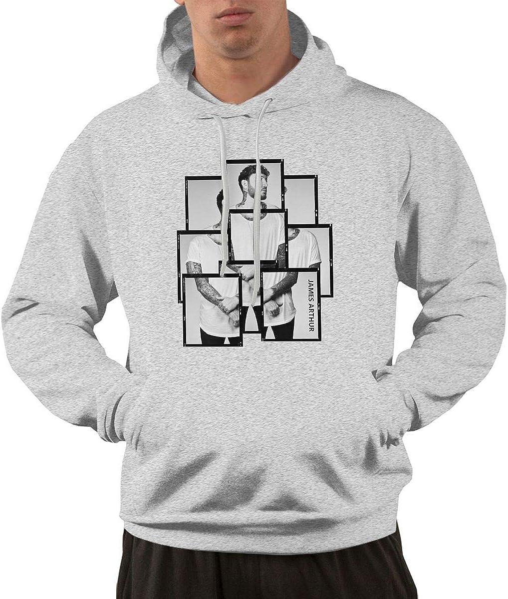 HangHisi James Arthur Mens Hoodie Long Sleeve Hooded Pocket Sweater Black