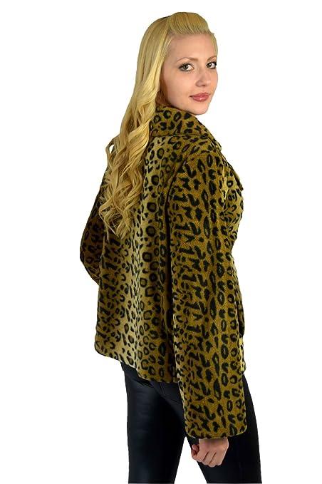 8a09e36ebad3 N Womens Leopard Print Jacket Buttoned Ladies Short Coat Fur Look: Amazon.co .uk: Clothing