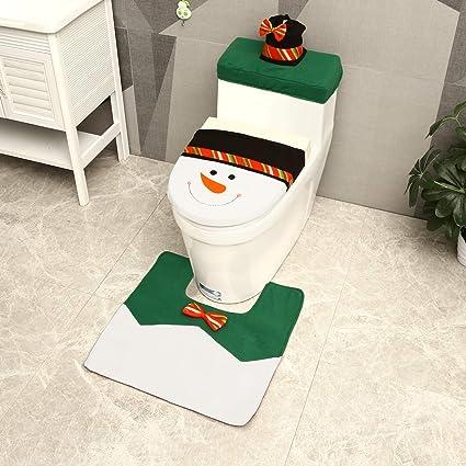 Toilet Seat Covers Amazon.Ohuhu Christmas Snowman Toilet Seat Cover Tank Toilet Paper Box Cover And Foot Mat Set Christmas Decoration Set Set Of 3 Green