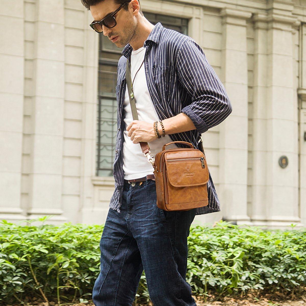 Brown Contacts Mens Real Leather Mini iPad Tab Crossbody Shoulder Messenger Bag