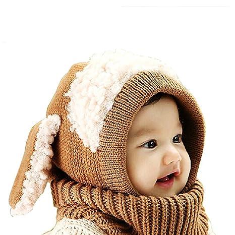 Sunroyal Inverno caldo Coif Cappuccio Sciarpa Caps Cappello Earflap Fox  scialli di lana lavorato a maglia 2ea779618446