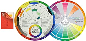 """Color Mixing Guides: Color Wheel (9-1/4"""") Plus Creative Color Wheel (9-1/4"""") with Color sectors Showing Relationships Between Colors"""