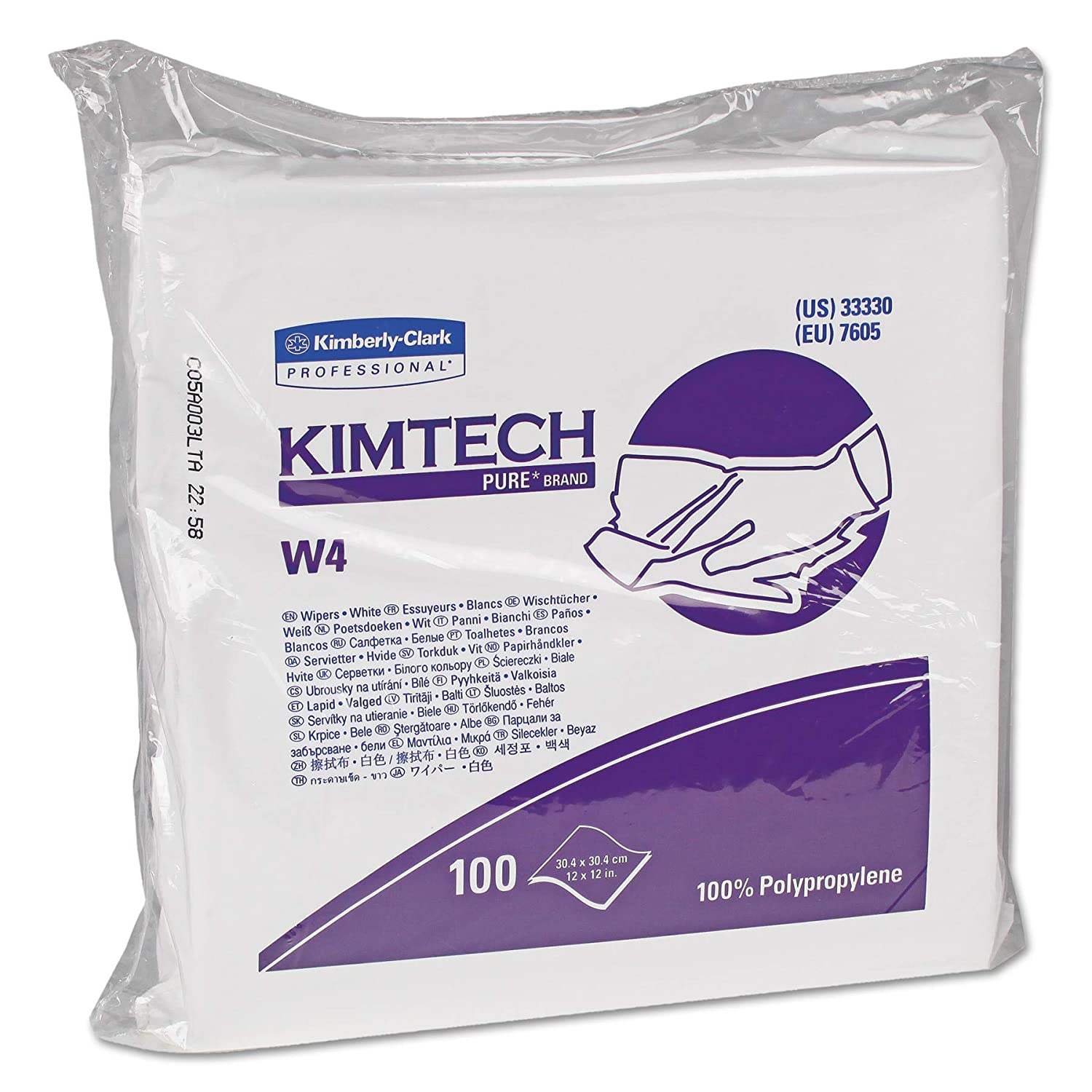 Kimtech 33330 W4 Critical Task Wipers Flat Double Bag 12x12 White 100 per Pack Case of 5 Packs