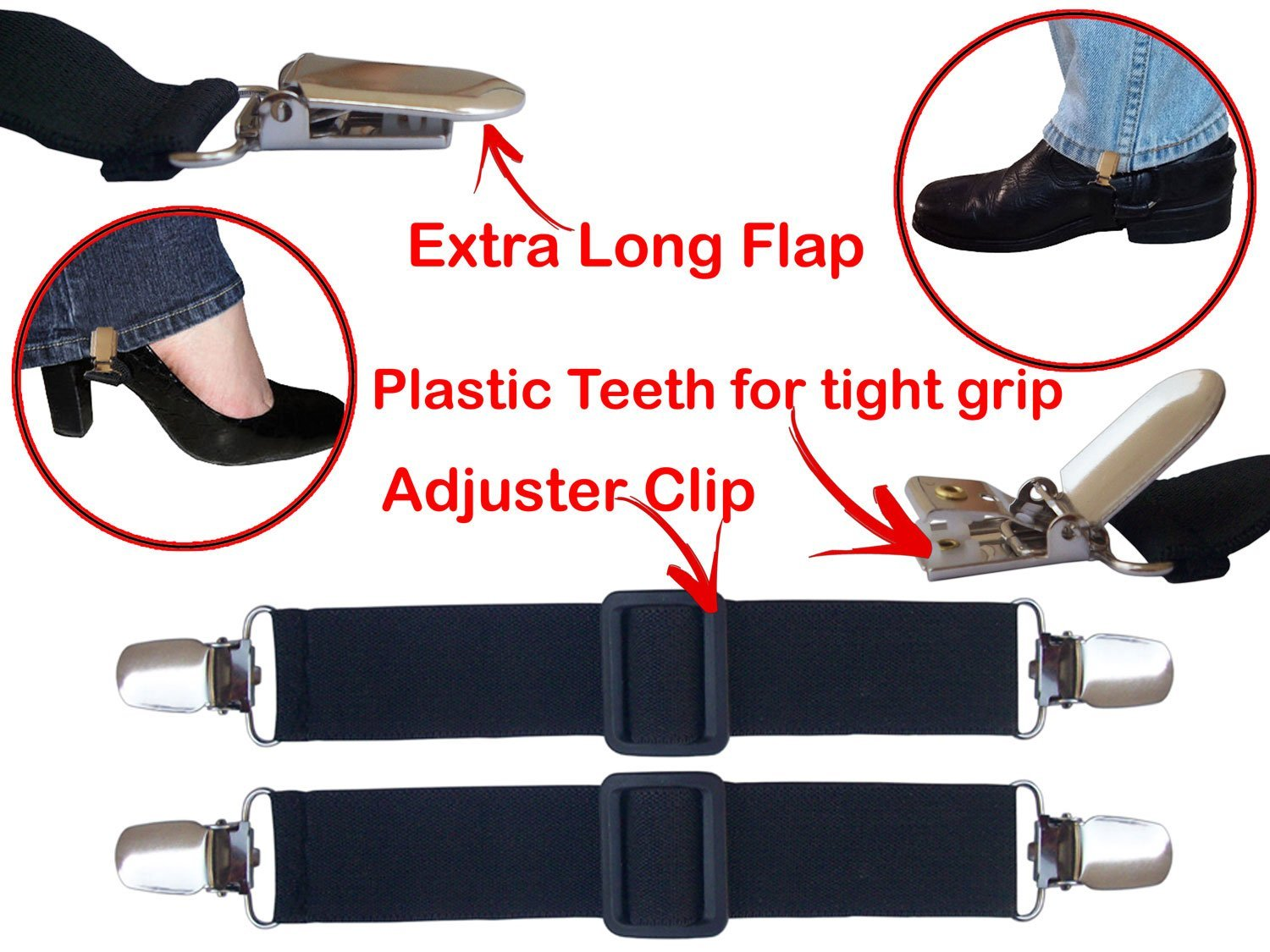 Pant Clips Motorcycle Biker Cyclist Leg Boot Straps Stirrup For Riding 1 Pair