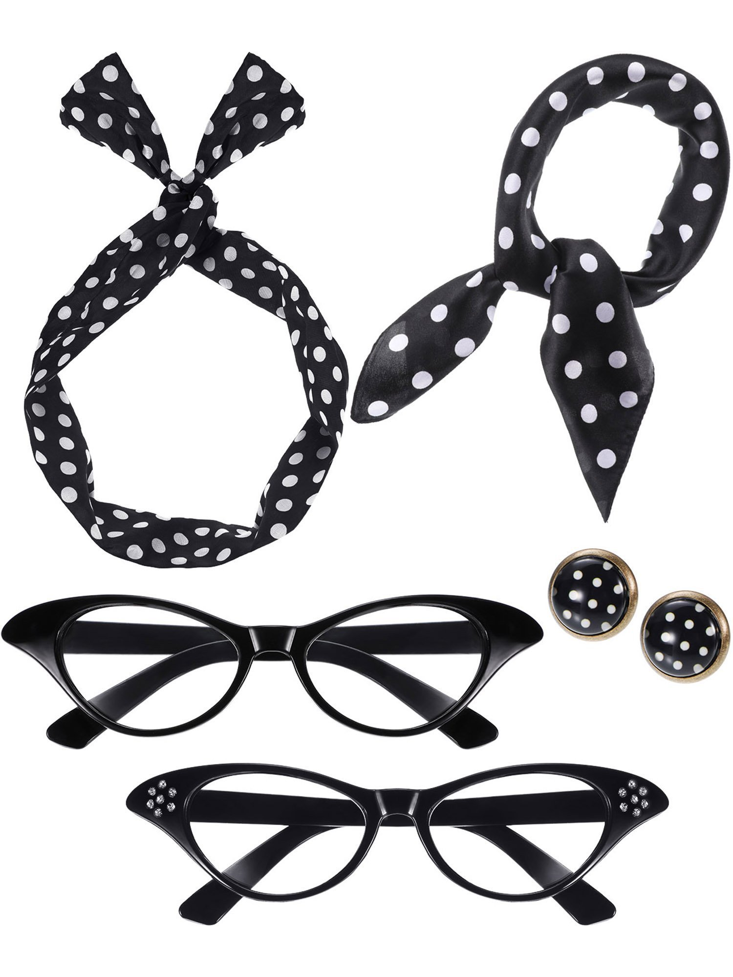Blulu Women 50's Costume Accessories Set, Include 2 Pairs Cat Eye Glasses, Bandana Scarf, Wave Points Headband and Earrings (Black)