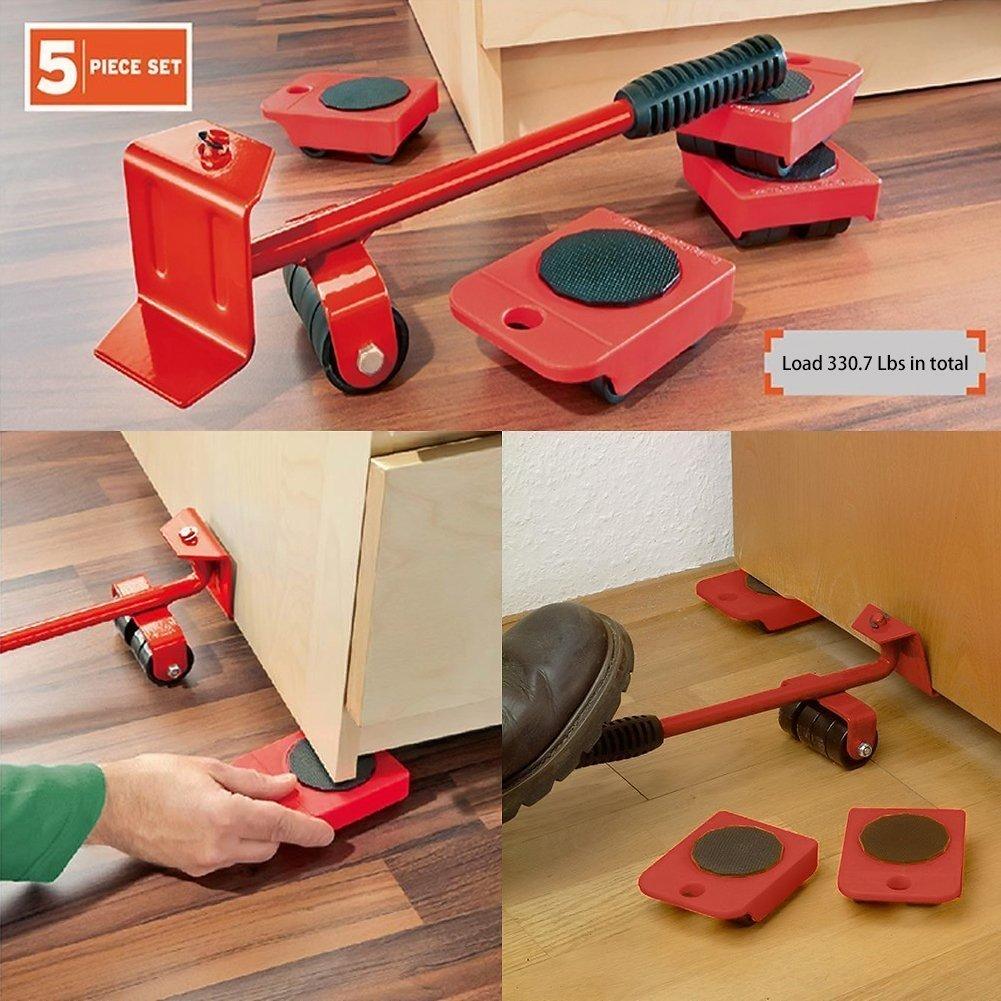 Powerfix Kit de 5 piè ces pour transporter les meubles, idé al pour les dé mé nagements, avec roulettes et levier idéal pour les déménagements meister werkzeuge gmbh
