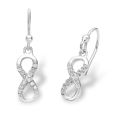 Amor Damen-Ohrhänger Infinity Unendlichkeitszeichen 925 Sterling Silber  rhodiniert Zirkonia weiß  Amazon.de  Schmuck 45665502ca