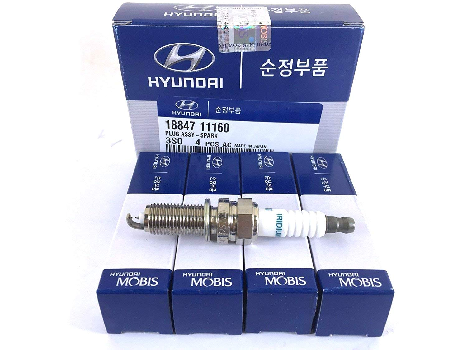 Genuine Hyundai Spark Plugs, 18847-11160, Set of 4