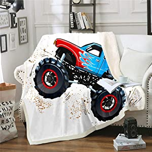 "3D Monster Trucks Home Blanket Throw Throw 50""x60"" Boys Dirt Bike Car Sherpa Blanket Extreme Speed Sports Fleece Blanket for Kids Teen Adult Enormous Wheels Mountain Buggy Fuzzy Blanket Sofa Decor"