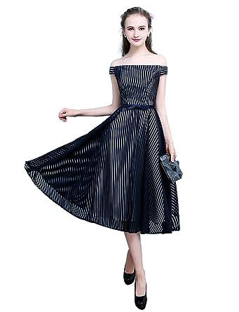 c7f6a2e4d5095 Erosebridal Elegant Women s Off Shoulder Red Stripe Prom Evening Dress with Bow  Tie A Line Tea