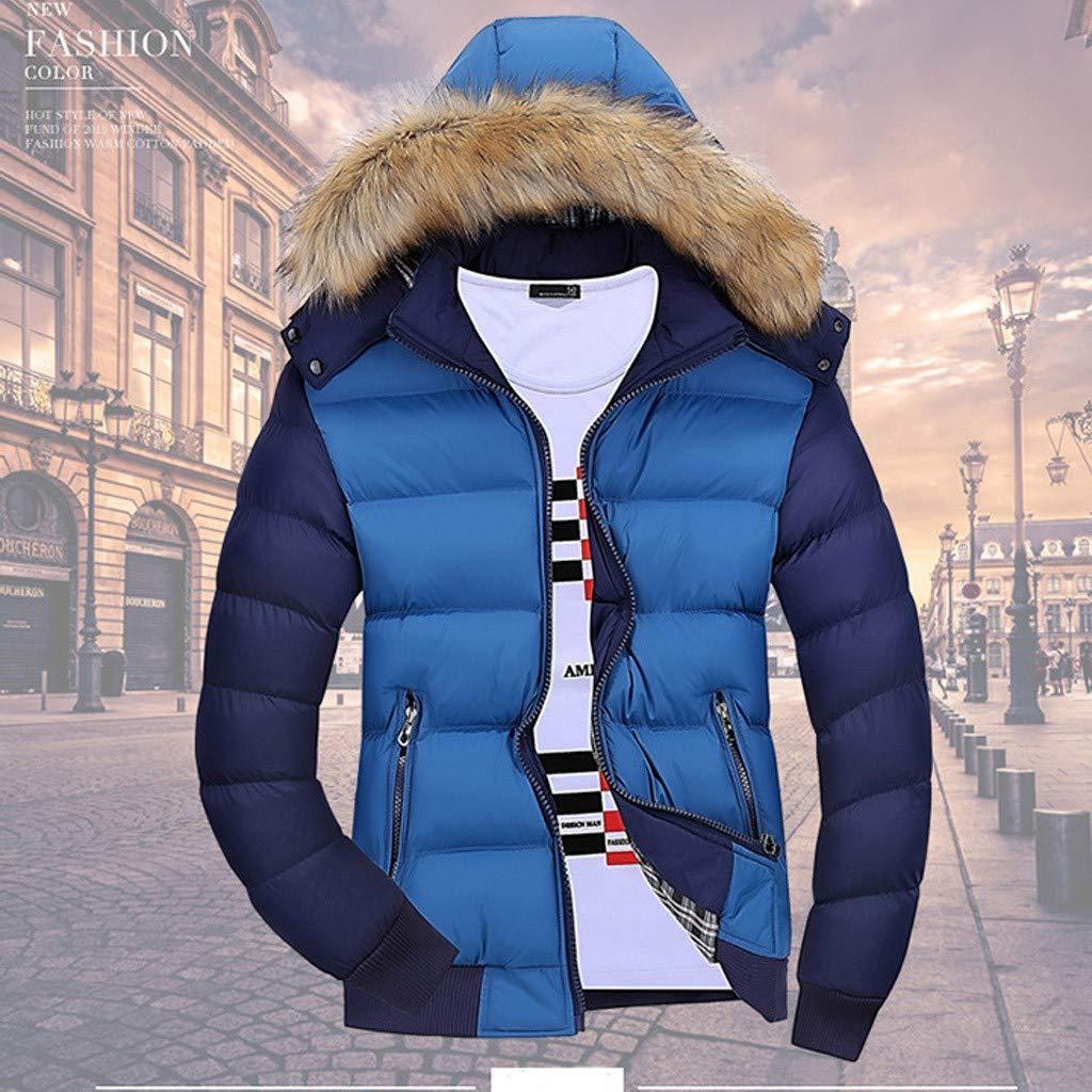 Homme à Capuche Manteau Doudoune Hiver Chaud Épais avec Capuche Veste Blouson Bleu