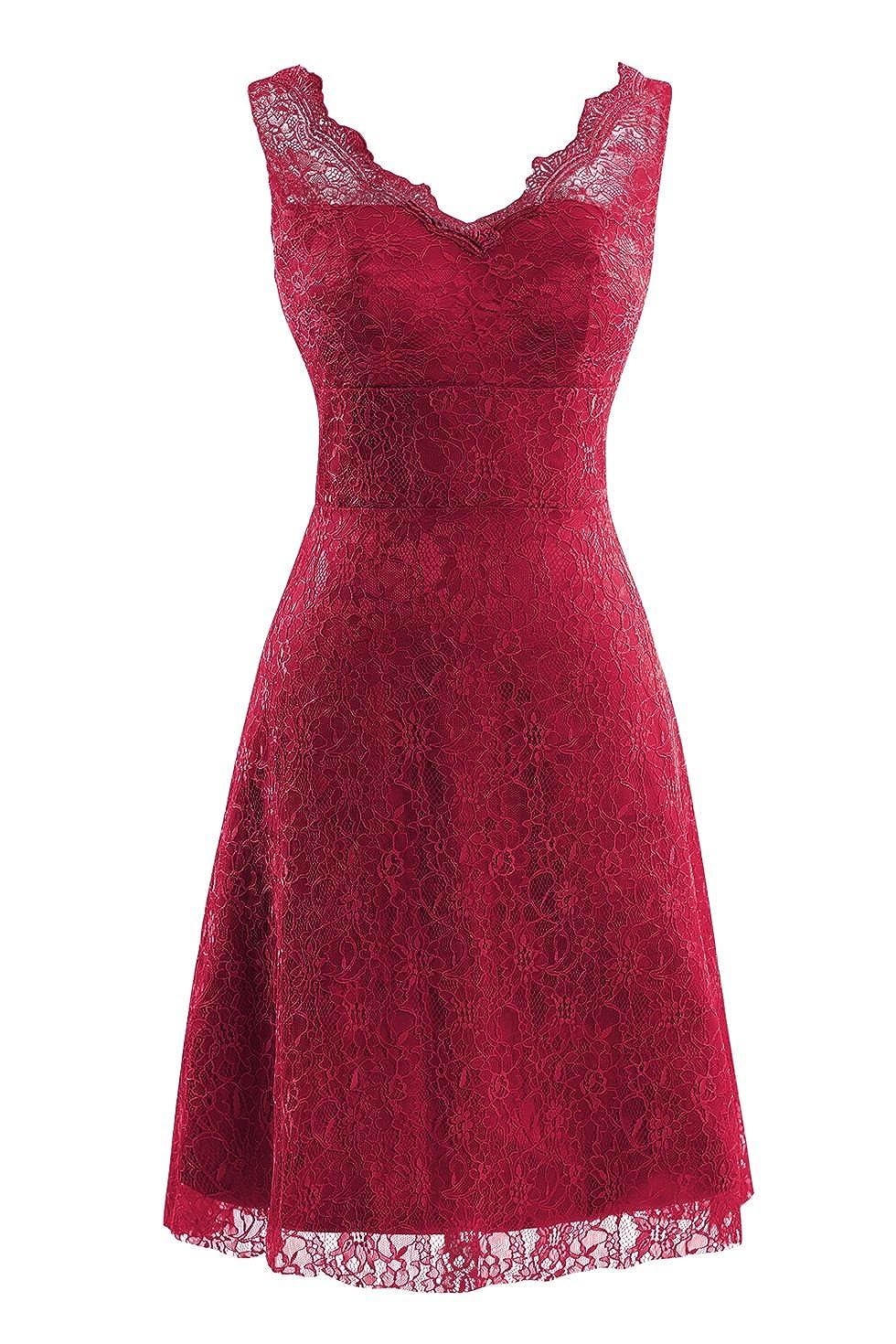 Burgundy Bess Bridal Women's V Neck Lace Knee Length Prom Party Dresses