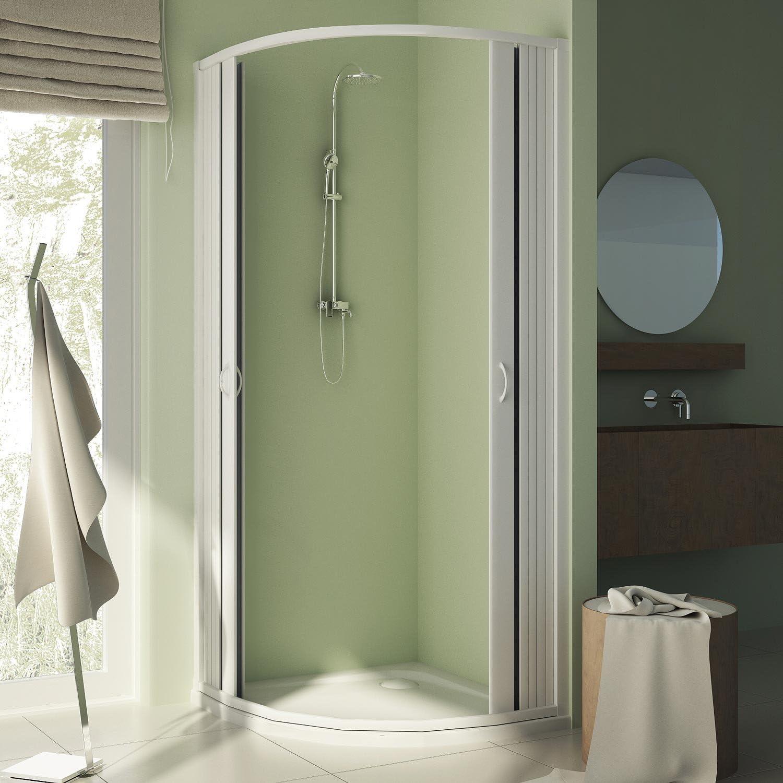 Forte br141001 Box ducha Free semicircular, riducibile, apertura central, blanco, 70 – 90 x 70 – 90, H 185 cm: Amazon.es: Bricolaje y herramientas