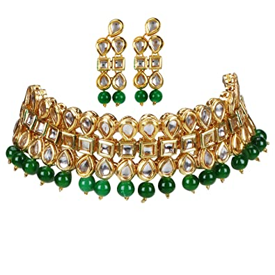 53ddc7277 Image Unavailable. Image not available for. Colour  Aradhya Elegant Gold  Plated Inspired Green Traditional Kundan ...