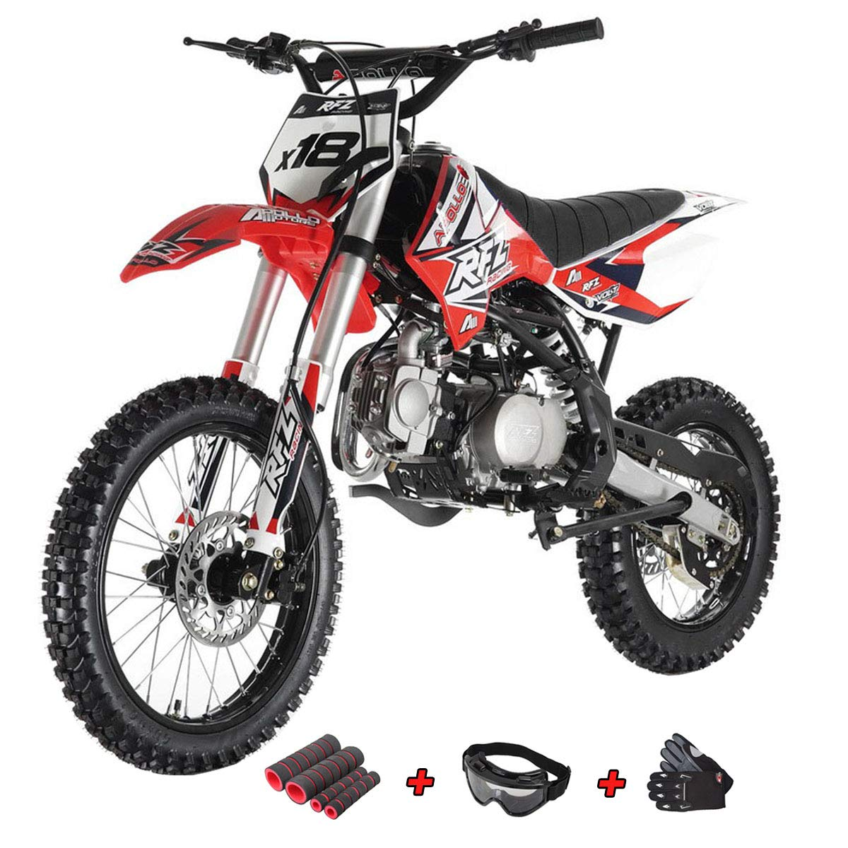 125cc Adults Dirt Bike with 4-Speed Manual Transmission, Double Spare Frame! Kick Start, Big 17''/14'' Tires! Not Legal in California (Blue)