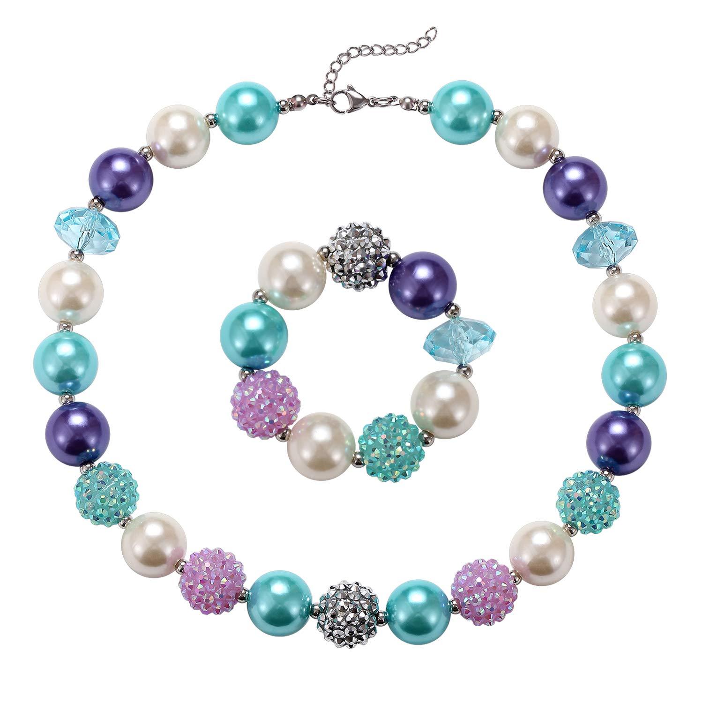 Little Girls Chunky Bubblegum Beads Pink Flower Necklace Bracelet Jewelry Set VINJEWELRY