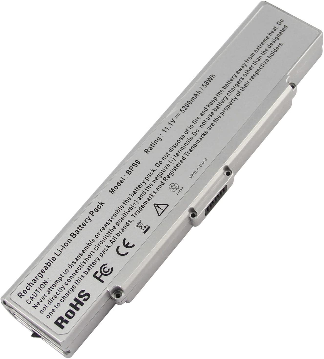 Fancy Buying Laptop Battery for Sony VAIO PCG VGN-AR VGN-NR VGN-SZ VGN-CR Series, fits P/N BPS9 VGP-BPL9 VGP-BPS9 VGP-BPS9/B VGP-BPS9/S VGP-BPS9A VGP-BPS9A/B (Silver 11.1V 5200mAh)