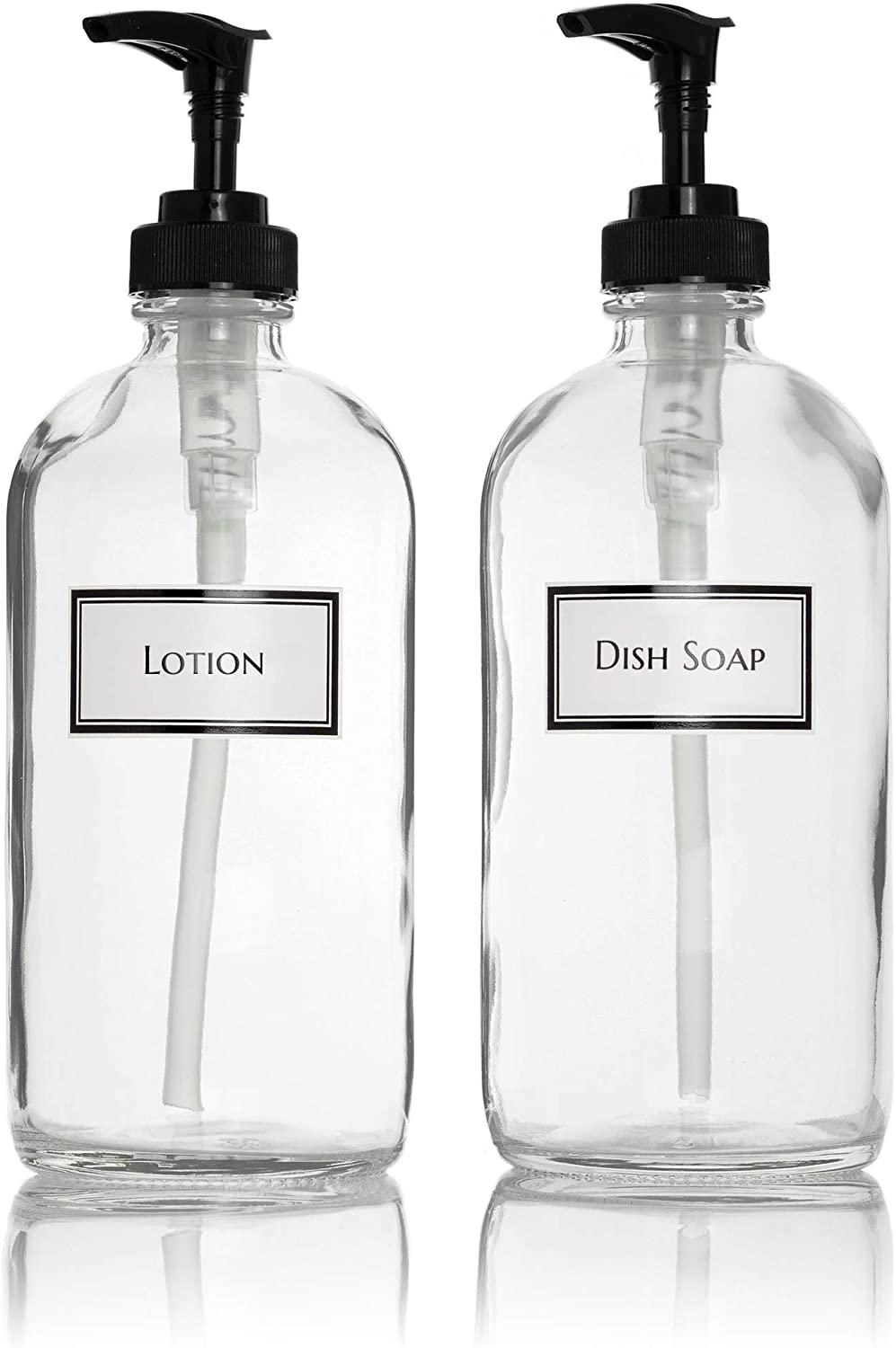 Ceramic Printed Glass Dish Soap and Lotion Dispenser Set with Black Pumps, 16 oz, Clear