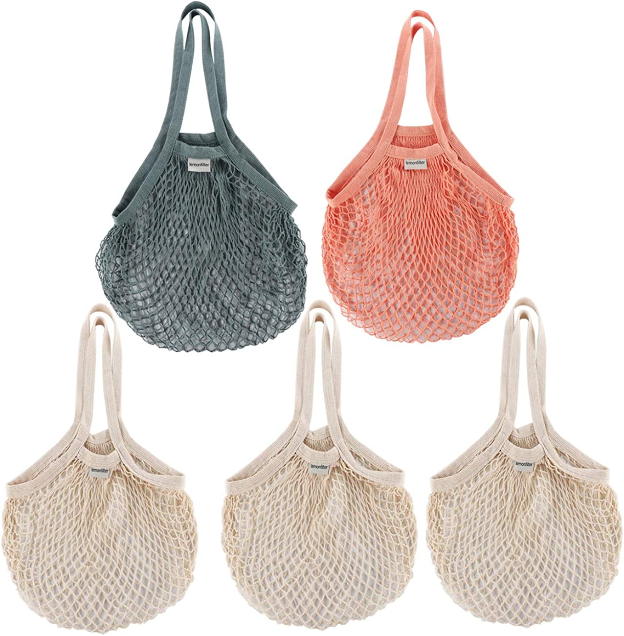 Lemonfilter 5 Pack Reusable Cotton Mesh Grocery Bags, Foldable and Washable Cotton String Shopping Bags Long Handle Net Tote for Farmers Market Shopping (3 color)