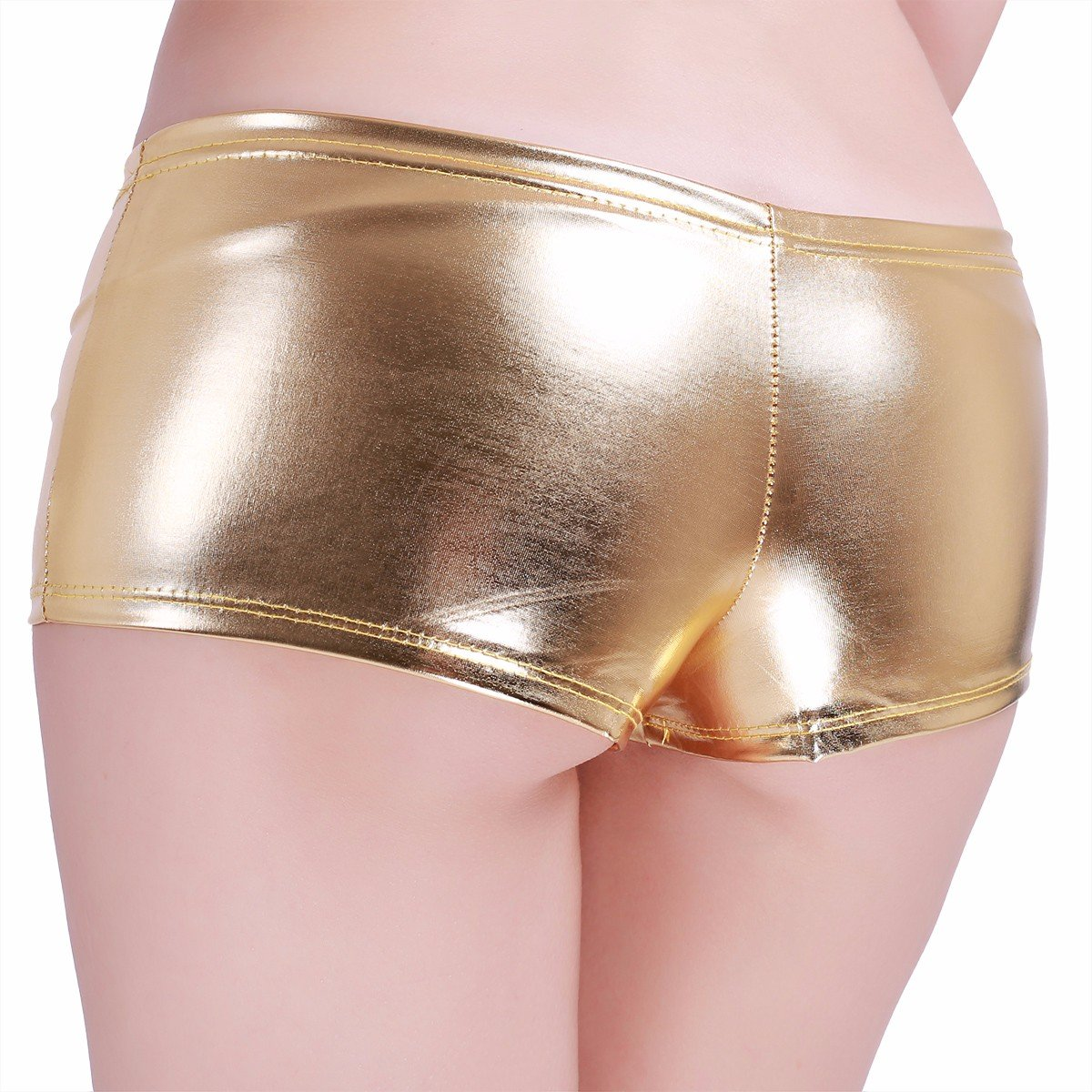 iEFiEL Womens Faux Leather Metallic Hipster Booty Shorts Lingerie Boyshorts Panties