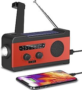 [2020 Upgraded Version] Fansrock Emergency Solar Hand Crank Radio, NOAA Weather Radio with AM/FM, LED Flashlight, SOS Alarm, 2000mAh Power Bank for Cell Phone