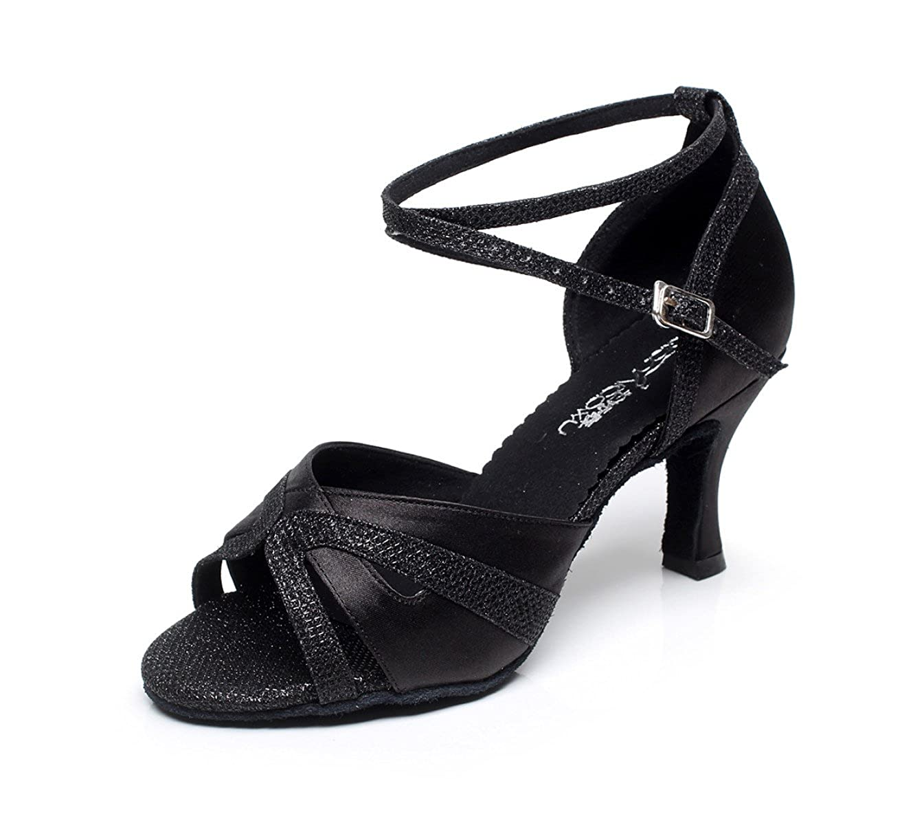 JSHOE Sexy Salsa Jazz Dance Chaussures Ballroom Latin Jazz Salsa Talons Tango Party Danse Chaussures Talons Hauts,Black-heeled7.5cm-UK3/EU33/Our34 - d75e156 - automaticcouplings.space