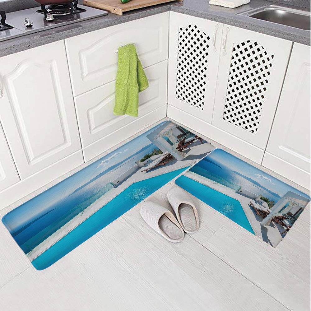 2 Piece Non-Slip Kitchen Mat Rug Set Doormat 3D Print,Santorini Island Greece Swimming Pool Blue White,Bedroom Living Room Coffee Table Household Skin Care Carpet Window Mat,