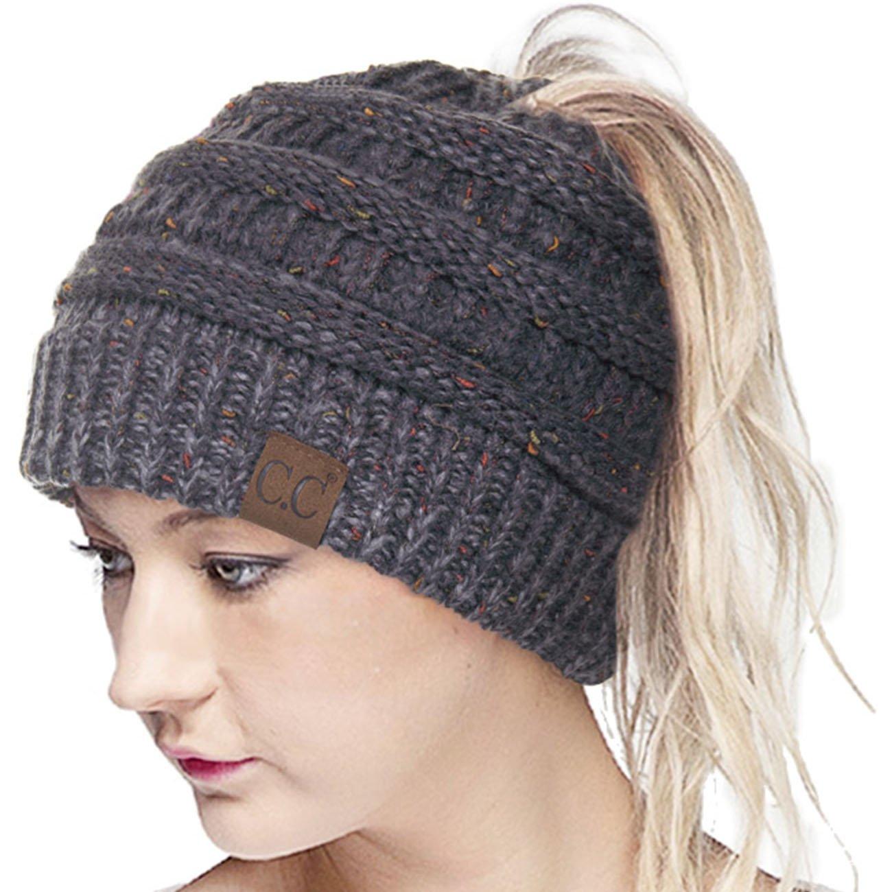 ScarvesMe CC Confetti Ombre Beanietail Ponytail Messy Bun Solid Ribbed Beanie Hat Cap (Dark Melange Grey)