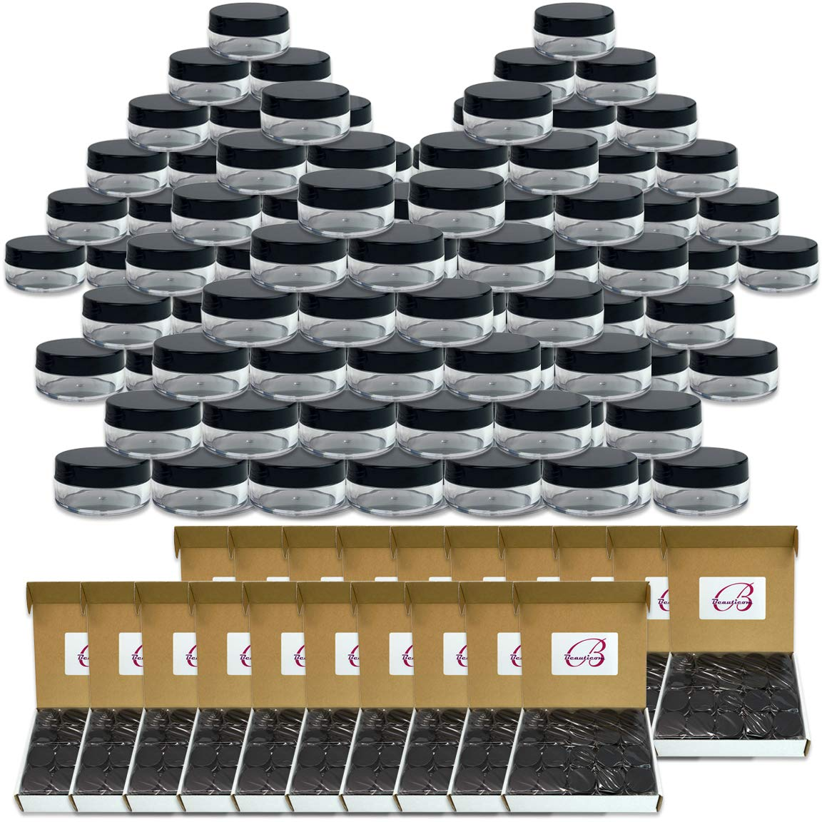 (Quantity: 1000 Pieces) Beauticom 10G/10ML Round Clear Jars with Black Lids for Cosmetics, Medication, Lab and Field Research Samples, Beauty and Health Aids - BPA Free by Beauticom