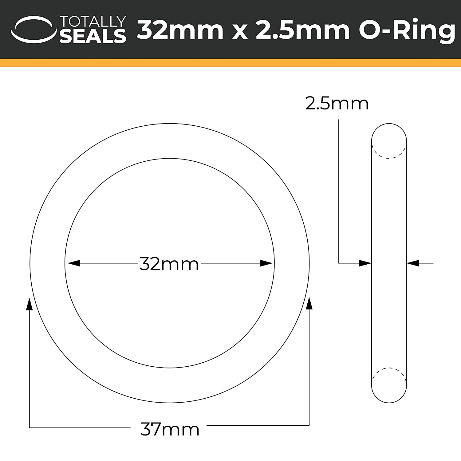 Pack of 10 37mm OD 32mm x 2.5mm Nitrile Rubber O-Rings 70A Shore Hardness