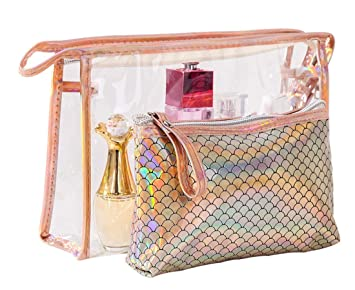 3dea318e2260 Amazon.com   Cosmetic Bag Portable Carry on Travel Toiletry Bag Clear PVC  Waterproof laser Mermaid Makeup Pouch for Women   Beauty