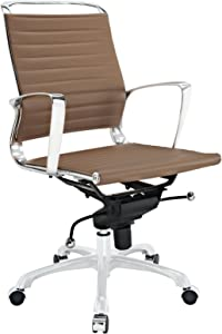 Modway Tempo Mid Back Office Chair in Tan