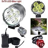 Nestling® 7000Lm CREE XM-L T6 U2 5 LED Rechargeable Bike Vélos Light Head Light House étanche Lampe torche avec Install Holder pour Mountain & Enfants & Vélos Tous + feu arrière +8.4V, 8000mah, 4 x18650 battery arrière