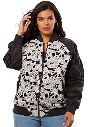 bee4b6345fd96 Amazon.com  Roamans Women s Plus Size Lace-Front Bomber Jacket  Clothing