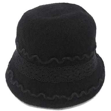 86b90610d75e0f Cute 1920s Warm Wool Cloche Bucket Hat, Packable Winter Vintage Bowler Cap ( Black)