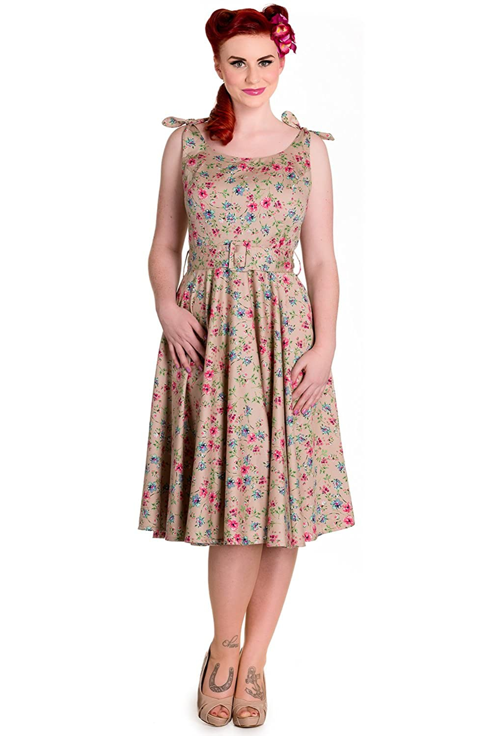 1940s Style Dresses and Clothing Hell Bunny Janine Floral Retro Rockabilly Dress $39.99 AT vintagedancer.com