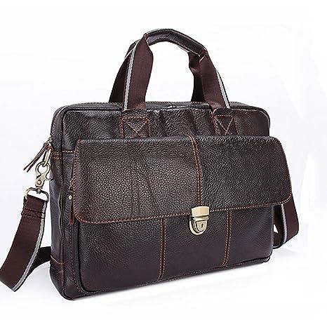 AFCITY maletín para Ordenador portátil Maletín de Cuero de los Hombres de Negocios Messenger Bolso de