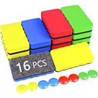 MOLYHUA Dry Erase Erasers, 16 Pack Magnetic Whiteboard Dry Erasers Chalkboard Cleaner Wiper for kids and Classroom…
