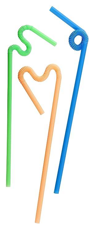 Fackelmann Knicktrinkhalme KREATIV Trinkr/öhrchen mit extra langem knickbarem Hals bunte Strohhalme aus Kunststoff Farbe: Orange, Gr/ün, Blau Menge: 70 St/ück