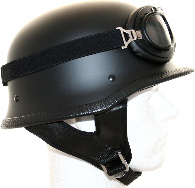 Motorradhelm Stahlhelm Oldtimer Brille Schwarz Matt Größe L 59 60cm Auto