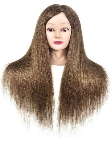 Cabeza de maniquí con pelo humano 100% profesional, práctica de peluquería, cabezales de