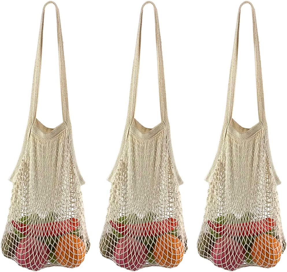 Net Shopping Bag BYETIVE Reusable Grocery Bags Net Storage Bag Long Handle Cotton Mesh Net Tote Bag Fruit Vegetable Net Bags Organizer