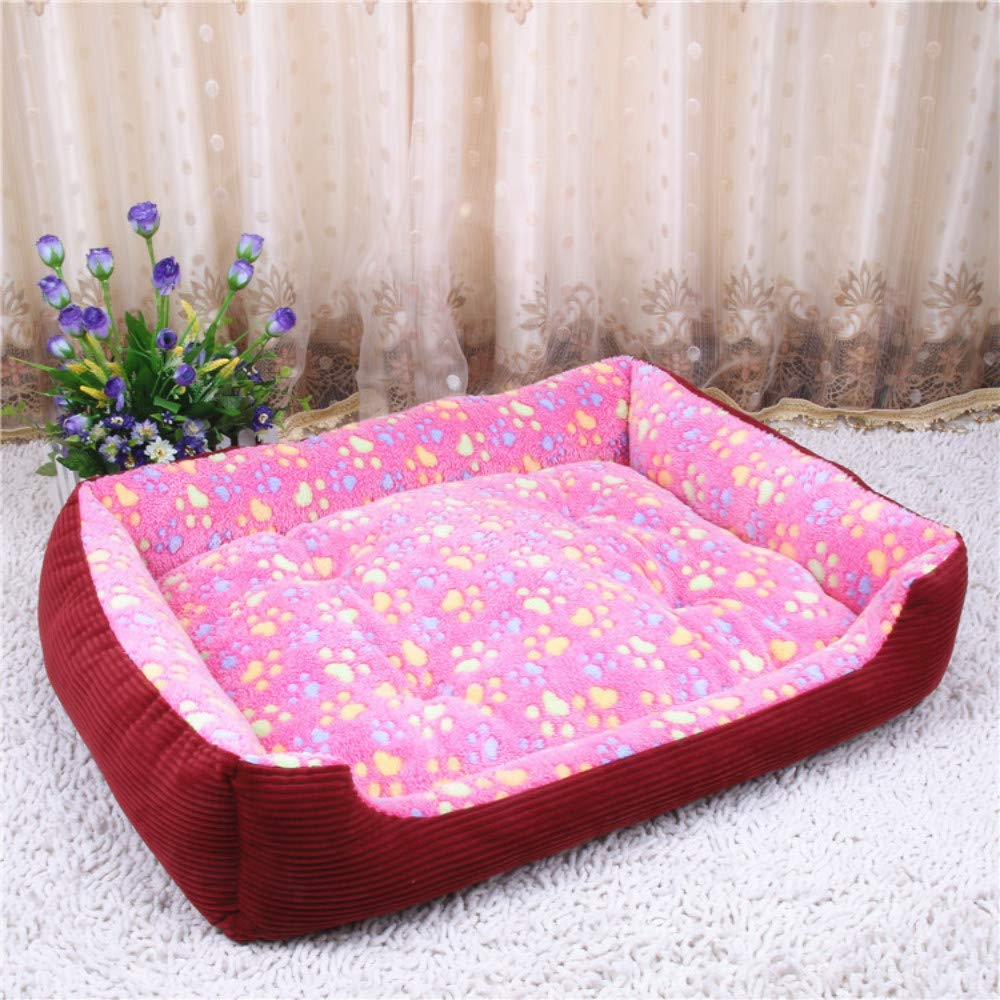 50x38x11cm WALSITK Winter warm dog kennel Teddy golden Retriever small medium and large dog pet nest thick dog bed cat litter pink 50x38x11cm