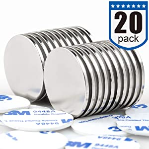 DIYMAG Powerful Neodymium Disc Magnets with Double-Sided Adhesive, Strong Permanent Rare Earth Magnets for Fridge, DIY, Building, Scientific, Craft, and Office Magnets, 1.26 inch Diameter, Pack of 20