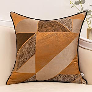 Yangest 18 x 18 Inch Rusty Satin Textured Throw Pillow Cover Luxury Modern Jacquard Diamond Plaid Cushion Case Decorative Pillowcase for Couch Sofa Living Room Bedroom Car,Brown