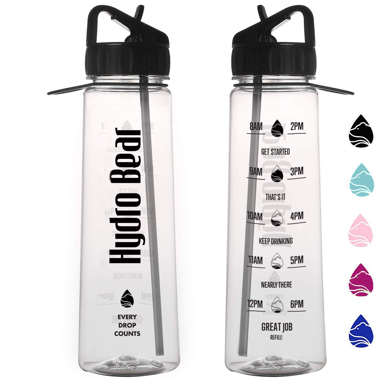 Hydro Bear モチベーション向上ストロー スポーツウォーターボトル 900ml 水分補給 BPAフリー プラスチック フリップストロー 漏れなし デザイン 時間表示 屋外 大人 子供 子供用 B07H87GK32 ブラック