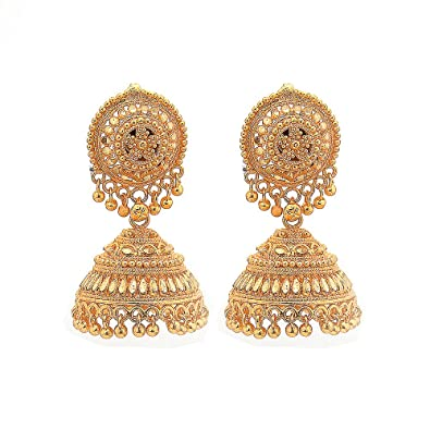 Buy Jewar Mandi Gold Plated Earrings Jhumka Chandbali New Look